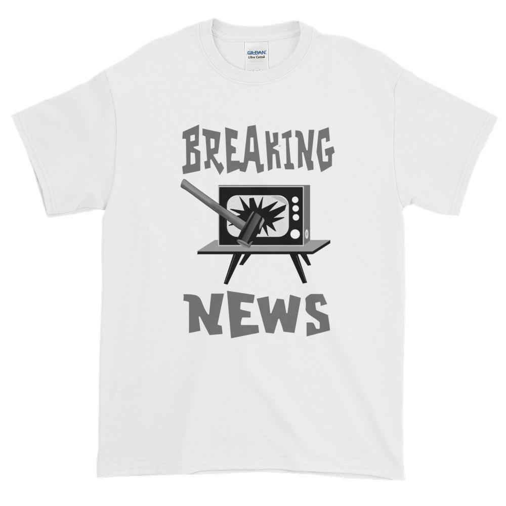 Breaking News TV Sledgehammer T-Shirt-White-S-Awkward T-Shirts