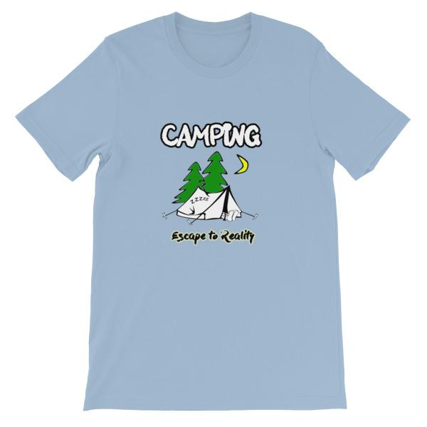 Camping Escape to Reality T-shirt-Light Blue-S-Awkward T-Shirts