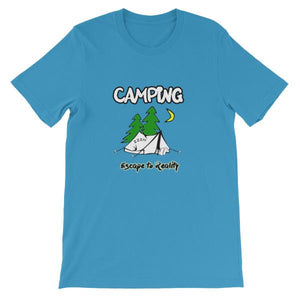 Camping Escape to Reality T-shirt-Ocean Blue-S-Awkward T-Shirts