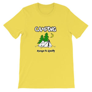 Camping Escape to Reality T-shirt-Yellow-S-Awkward T-Shirts