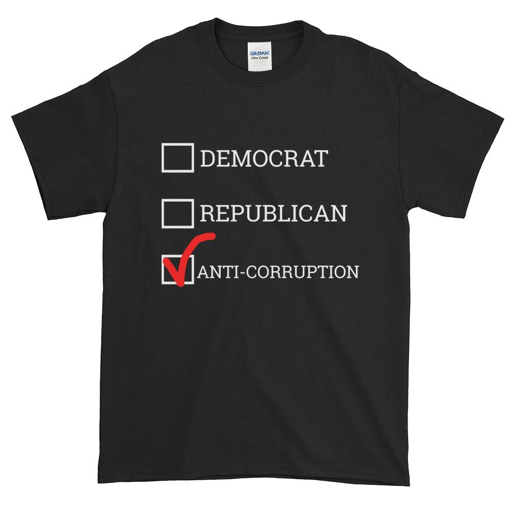 Democrat Republican or Anti-Corruption Funny Political T-Shirt-Black-S-Awkward T-Shirts