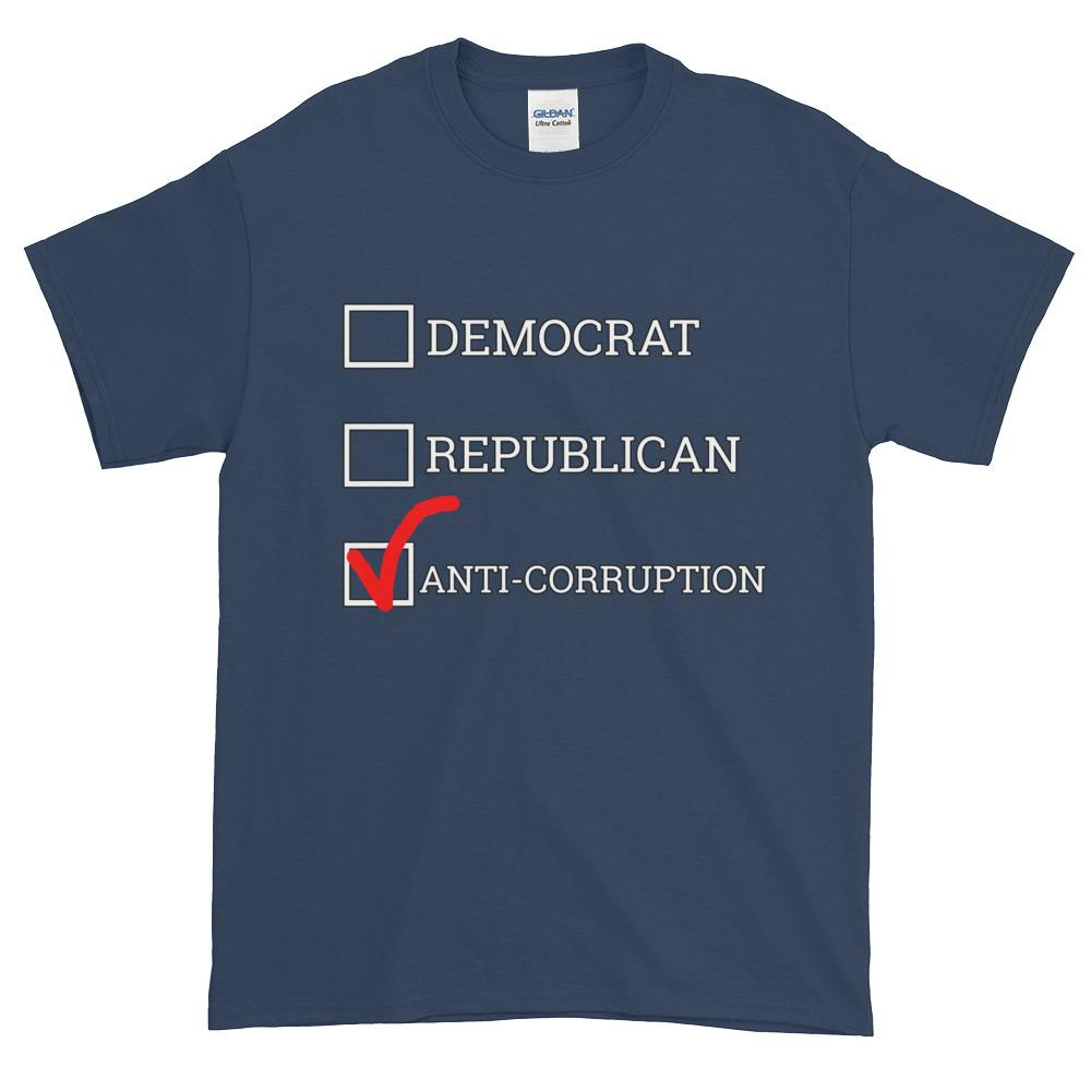 Democrat Republican or Anti-Corruption Funny Political T-Shirt-Blue Dusk-S-Awkward T-Shirts