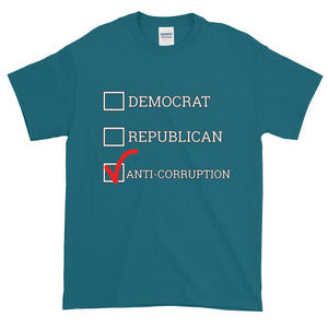 Democrat Republican or Anti-Corruption Funny Political T-Shirt-Galapagos Blue-S-Awkward T-Shirts