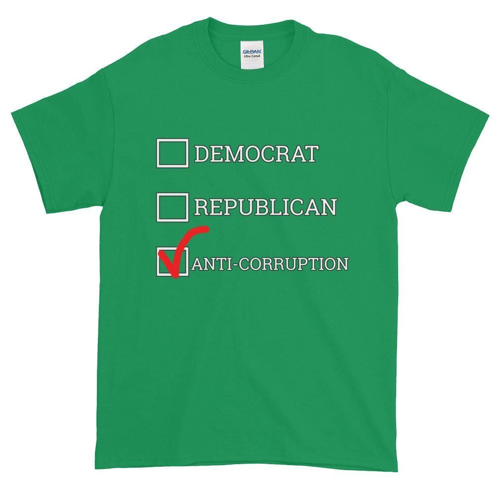 Democrat Republican or Anti-Corruption Funny Political T-Shirt-Irish Green-S-Awkward T-Shirts