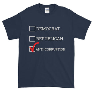 Democrat Republican or Anti-Corruption Funny Political T-Shirt-Navy-S-Awkward T-Shirts