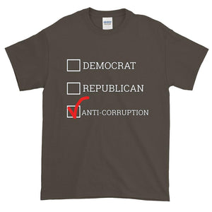 Democrat Republican or Anti-Corruption Funny Political T-Shirt-Olive-S-Awkward T-Shirts