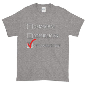 Democrat Republican or Anti-Corruption Funny Political T-Shirt-Sport Grey-S-Awkward T-Shirts