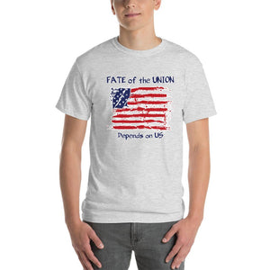 Fate of the Union Depends on US Patriot Patriotic Flag T-Shirt-Ash-S-Awkward T-Shirts