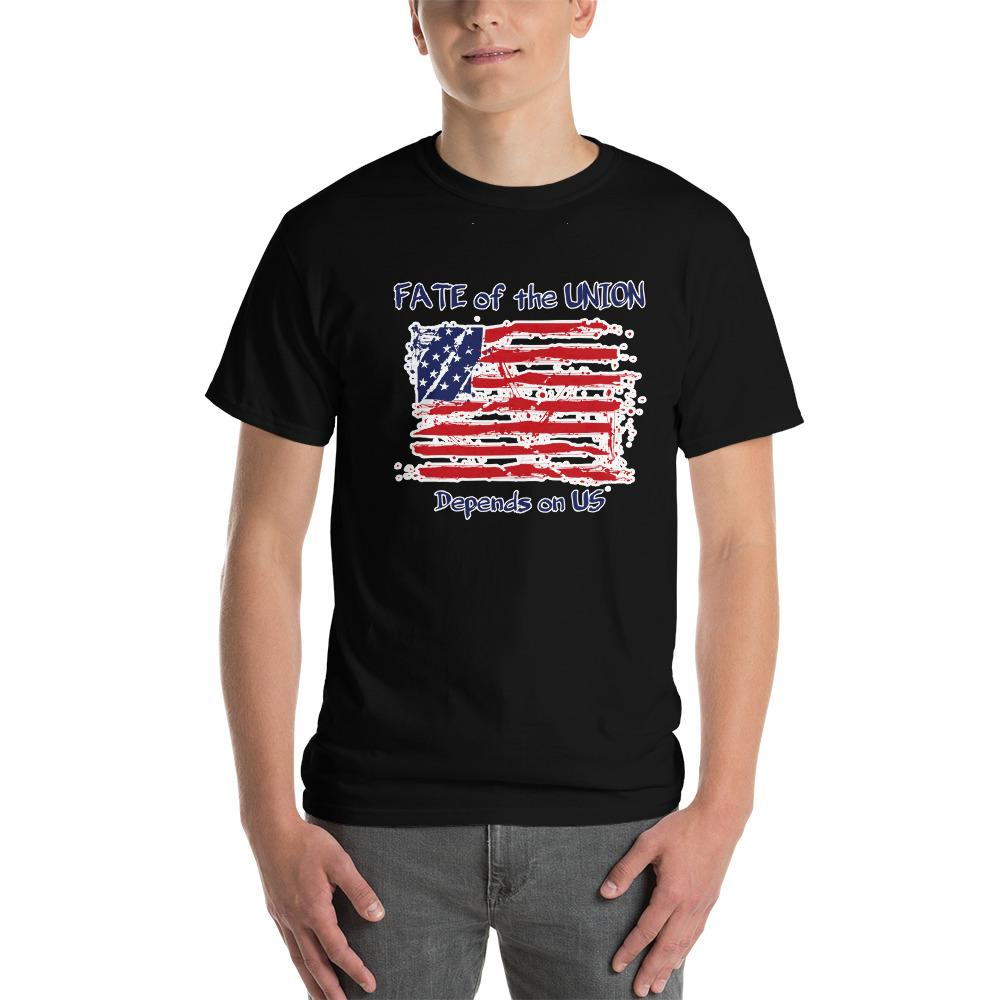 Fate of the Union Depends on US Patriot Patriotic Flag T-Shirt-Black-S-Awkward T-Shirts