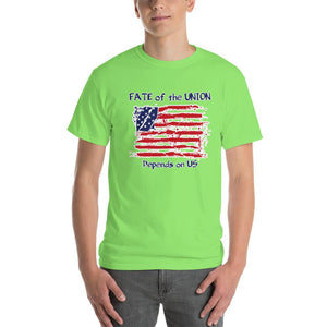 Fate of the Union Depends on US Patriot Patriotic Flag T-Shirt-Lime-S-Awkward T-Shirts