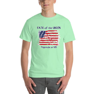 Fate of the Union Depends on US Patriot Patriotic Flag T-Shirt-Mint Green-S-Awkward T-Shirts