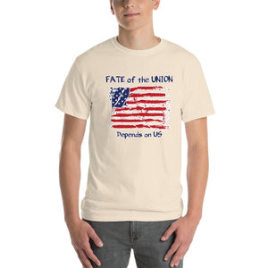 Fate of the Union Depends on US Patriot Patriotic Flag T-Shirt-Natural-S-Awkward T-Shirts