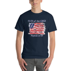 Fate of the Union Depends on US Patriot Patriotic Flag T-Shirt-Navy-S-Awkward T-Shirts