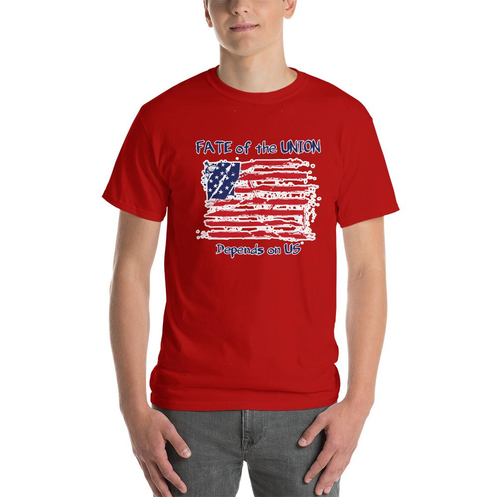 Fate of the Union Depends on US Patriot Patriotic Flag T-Shirt-Red-S-Awkward T-Shirts