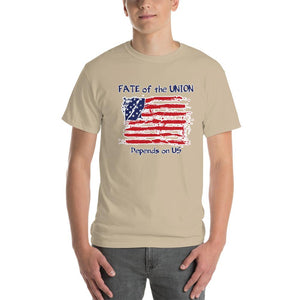 Fate of the Union Depends on US Patriot Patriotic Flag T-Shirt-Sand-S-Awkward T-Shirts