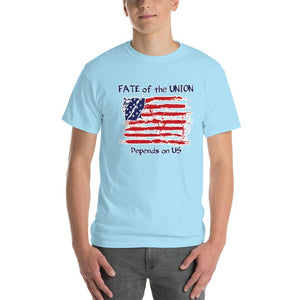 Fate of the Union Depends on US Patriot Patriotic Flag T-Shirt-Sky-S-Awkward T-Shirts