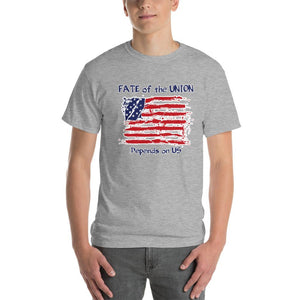 Fate of the Union Depends on US Patriot Patriotic Flag T-Shirt-Sport Grey-S-Awkward T-Shirts