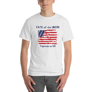 Fate of the Union Depends on US Patriot Patriotic Flag T-Shirt-White-S-Awkward T-Shirts
