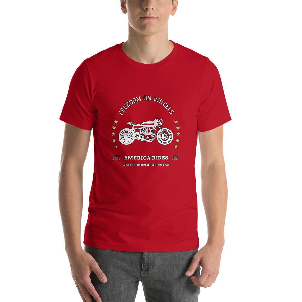 Freedom On Wheels America Rides Cool Motorcycle Shirt Short-Sleeve Unisex T-Shirt
