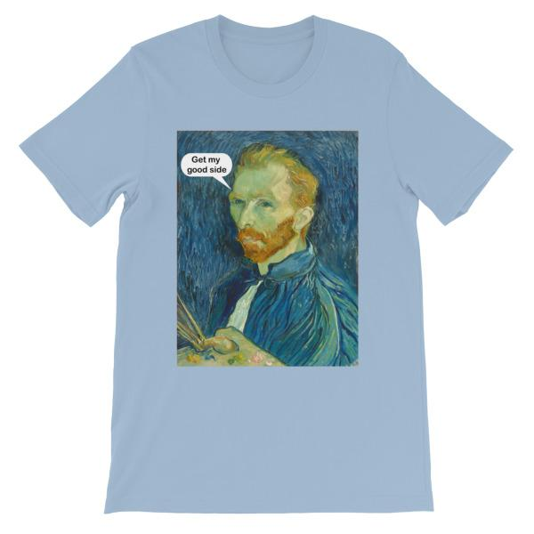 Get My Good Side Vincent Van Gogh T-shirt-Light Blue-S-Awkward T-Shirts