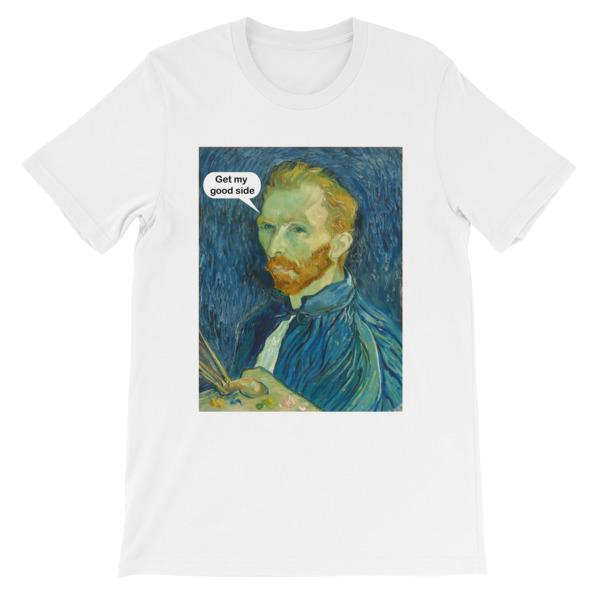 Get My Good Side Vincent Van Gogh T-shirt-White-S-Awkward T-Shirts