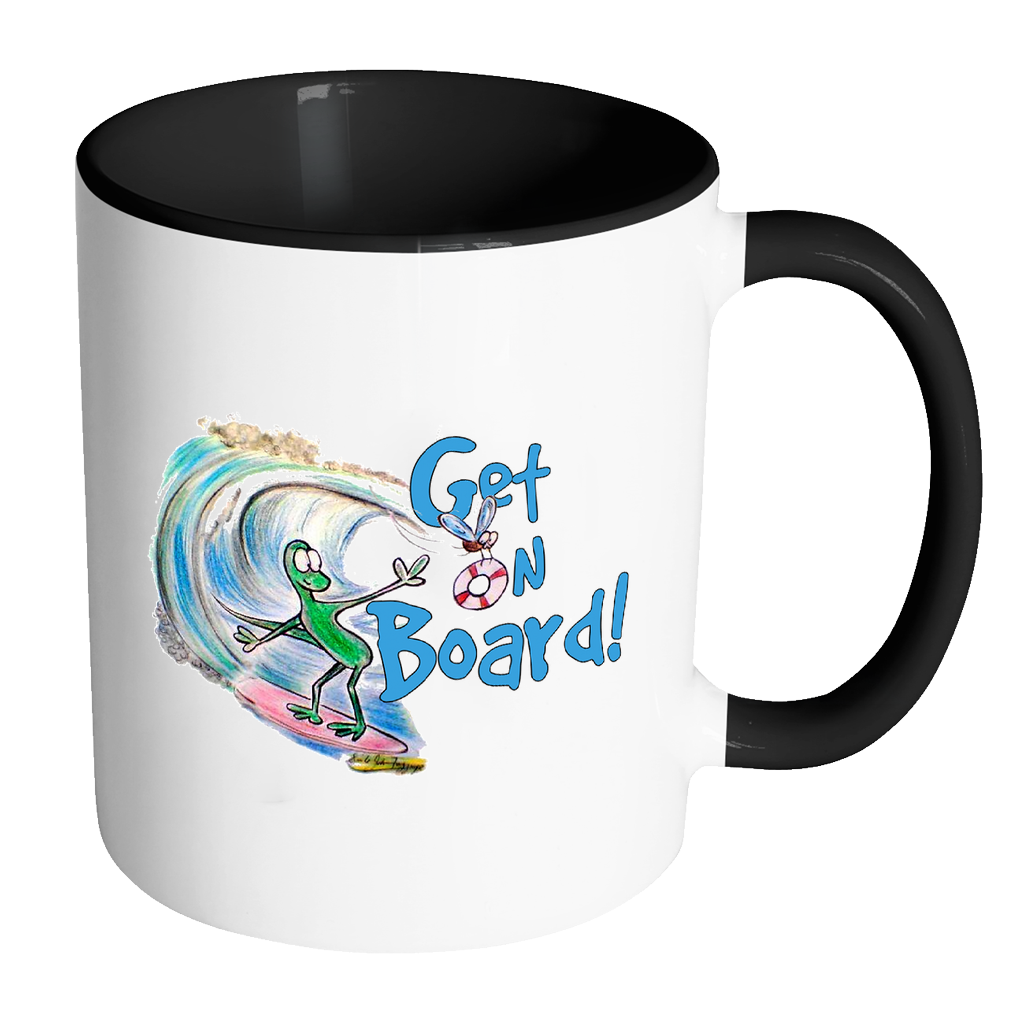 Get on Board Lizard Surfing Funny Coffee Mug - Awkward T-Shirts