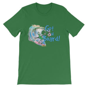 Get On Board Surfing T-shirt-Leaf-S-Awkward T-Shirts