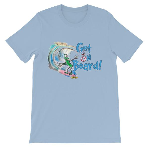 Get On Board Surfing T-shirt-Light Blue-S-Awkward T-Shirts
