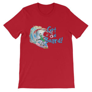 Get On Board Surfing T-shirt-Red-S-Awkward T-Shirts