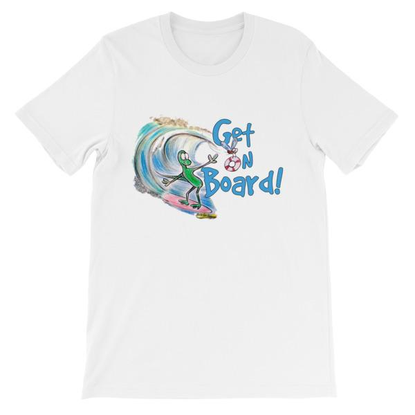 Get On Board Surfing T-shirt-White-S-Awkward T-Shirts