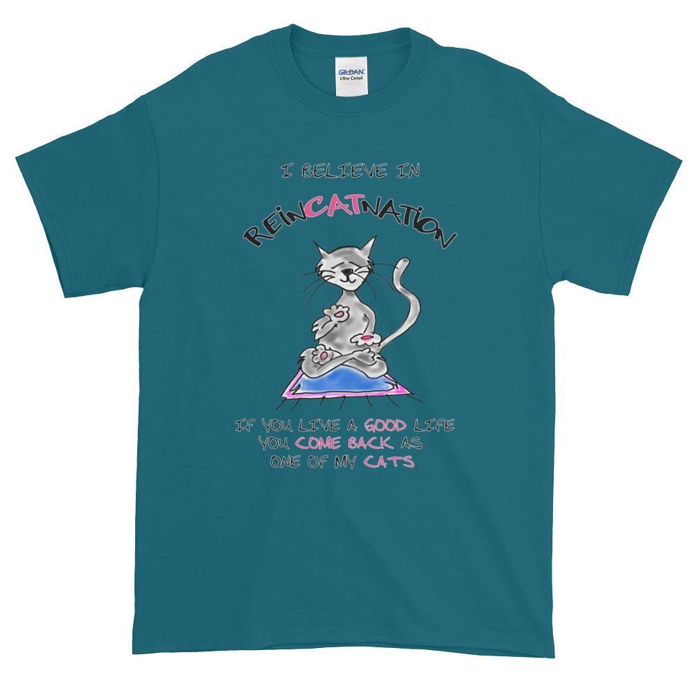 I Believe in ReinCATnation Funny Cat T-Shirt-Galapagos Blue-S-Awkward T-Shirts