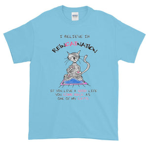 I Believe in ReinCATnation Funny Cat T-Shirt-Sky-S-Awkward T-Shirts