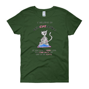 I Believe in ReinCATnation Women's T-shirt-Forest Green-S-Awkward T-Shirts