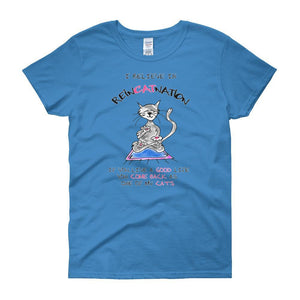 I Believe in ReinCATnation Women's T-shirt-Sapphire-S-Awkward T-Shirts