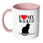 I Love My Black Cat I'm Not Superstitious Coffee Mug - Awkward T-Shirts
