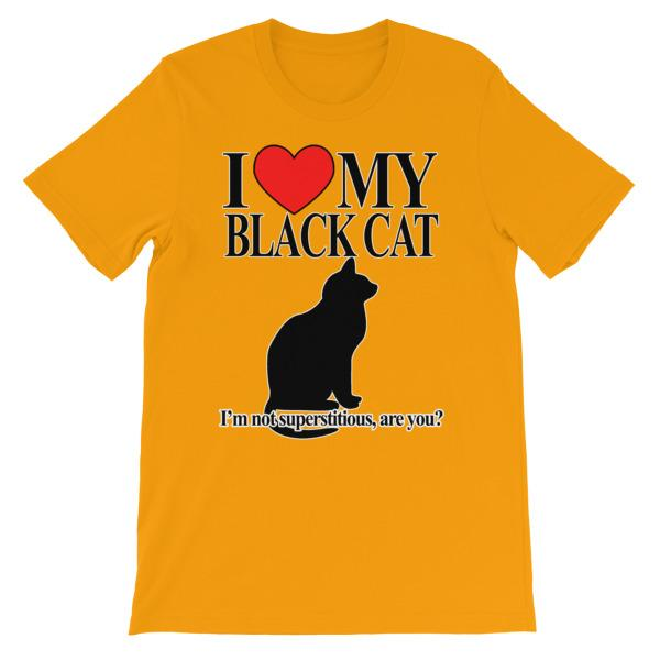 I Love My Black Cat T-shirt-Gold-S-Awkward T-Shirts
