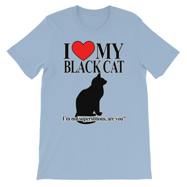 I Love My Black Cat T-shirt-Light Blue-S-Awkward T-Shirts