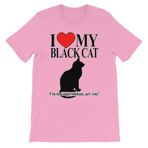 I Love My Black Cat T-shirt-Pink-S-Awkward T-Shirts