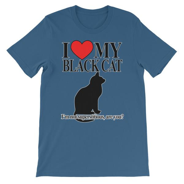 I Love My Black Cat T-shirt-Steel Blue-S-Awkward T-Shirts