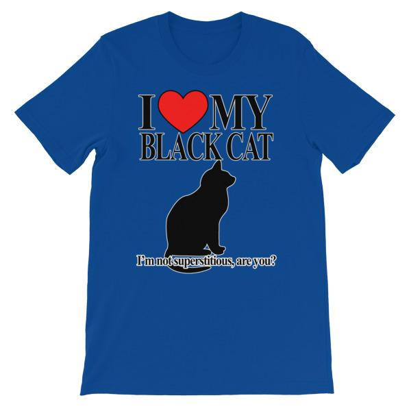 I Love My Black Cat T-shirt-True Royal-S-Awkward T-Shirts