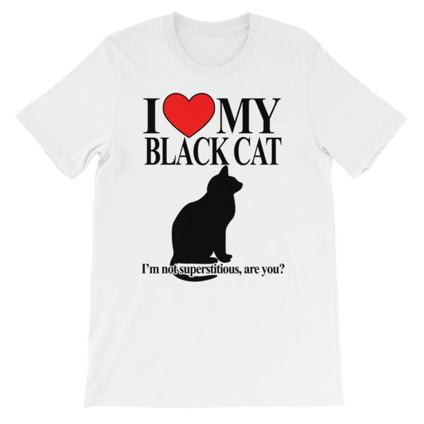 I Love My Black Cat T-shirt-White-S-Awkward T-Shirts