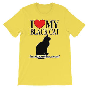 I Love My Black Cat T-shirt-Yellow-S-Awkward T-Shirts