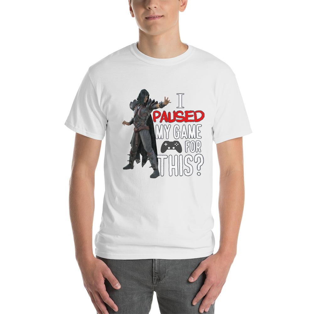 I Paused My Game for This Sarcastic Gamer T-Shirt-White-S-Awkward T-Shirts