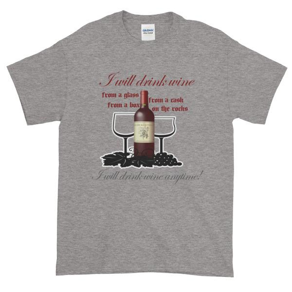 I Will Drink Wine Anytime T-shirt-Sport Grey-S-Awkward T-Shirts