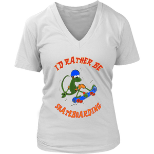 I'd Rather Be Skateboarding Cute Lizard Skateboard Women's Shirt