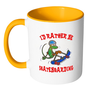 I'd Rather Be Skateboarding Lizard Coffee Mug - Awkward T-Shirts