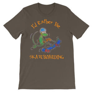 I'd Rather Be Skateboarding T-shirt-Army-S-Awkward T-Shirts