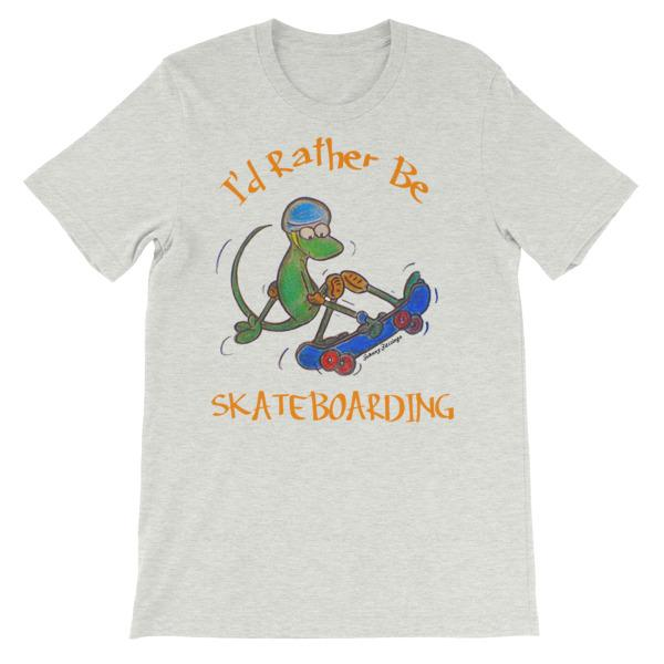 I'd Rather Be Skateboarding T-shirt-Ash-S-Awkward T-Shirts