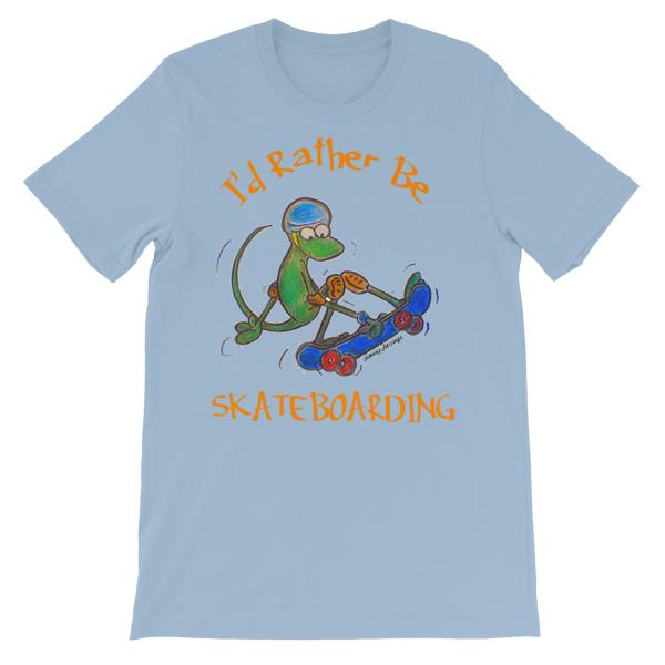 I'd Rather Be Skateboarding T-shirt-Light Blue-S-Awkward T-Shirts