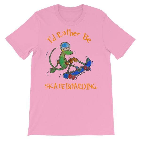 I'd Rather Be Skateboarding T-shirt-Pink-S-Awkward T-Shirts
